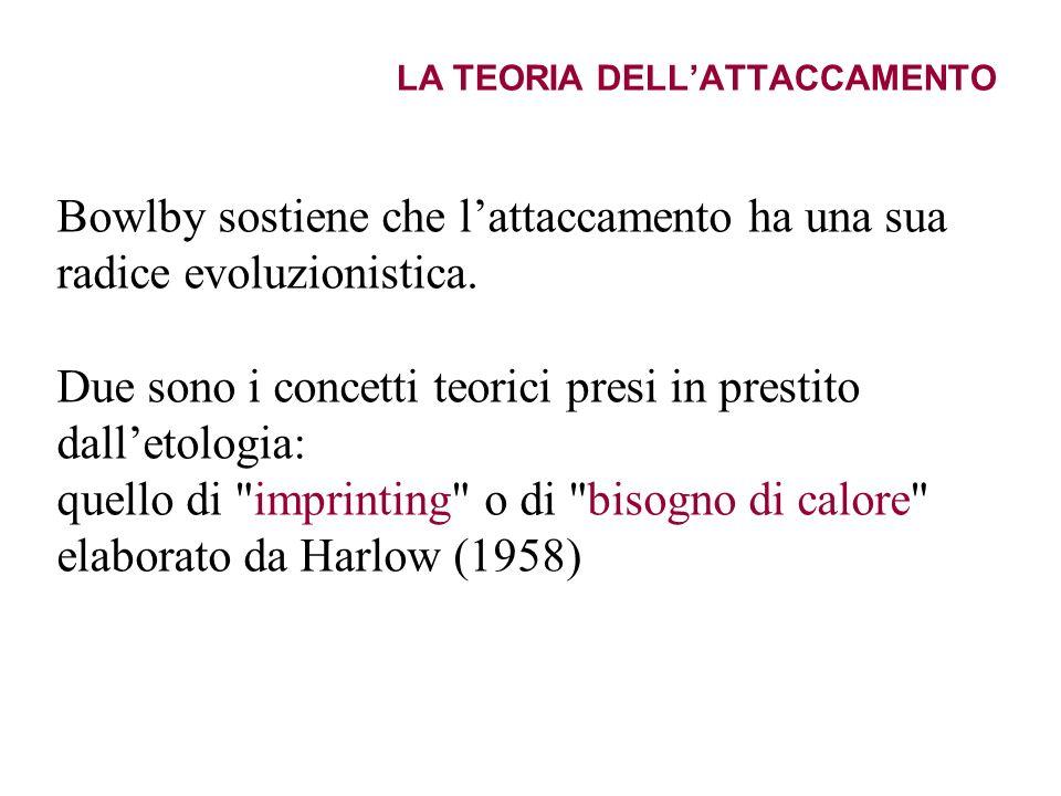 LA TEORIA DELLATTACCAMENTO Bowlby sostiene che lattaccamento ha una sua radice evoluzionistica. Due sono i concetti teorici presi in prestito dalletol