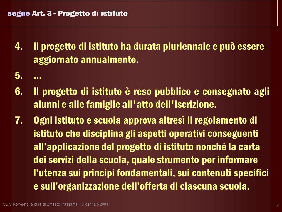 SSIS Rovereto, a cura di Ernesto Passante, 17 gennaio 2004 13 segue Art. 3 - Progetto di istituto 4.Il progetto di istituto ha durata pluriennale e pu