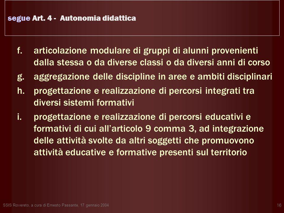 SSIS Rovereto, a cura di Ernesto Passante, 17 gennaio 2004 16 segue Art. 4 - Autonomia didattica f.articolazione modulare di gruppi di alunni provenie