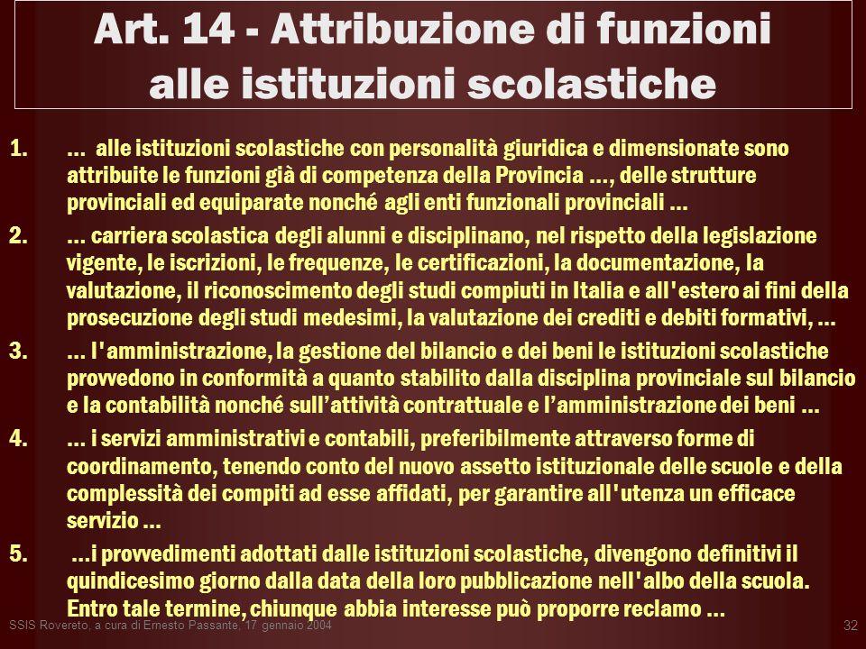 SSIS Rovereto, a cura di Ernesto Passante, 17 gennaio 2004 32 Art. 14 - Attribuzione di funzioni alle istituzioni scolastiche 1.… alle istituzioni sco