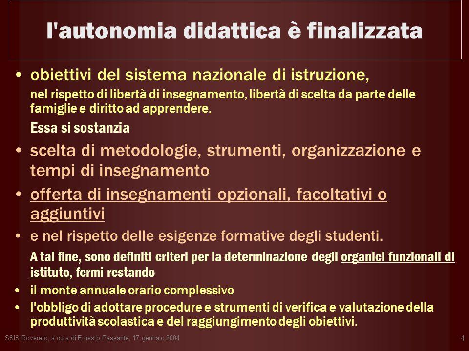SSIS Rovereto, a cura di Ernesto Passante, 17 gennaio 2004 4 l'autonomia didattica è finalizzata obiettivi del sistema nazionale di istruzione, nel ri