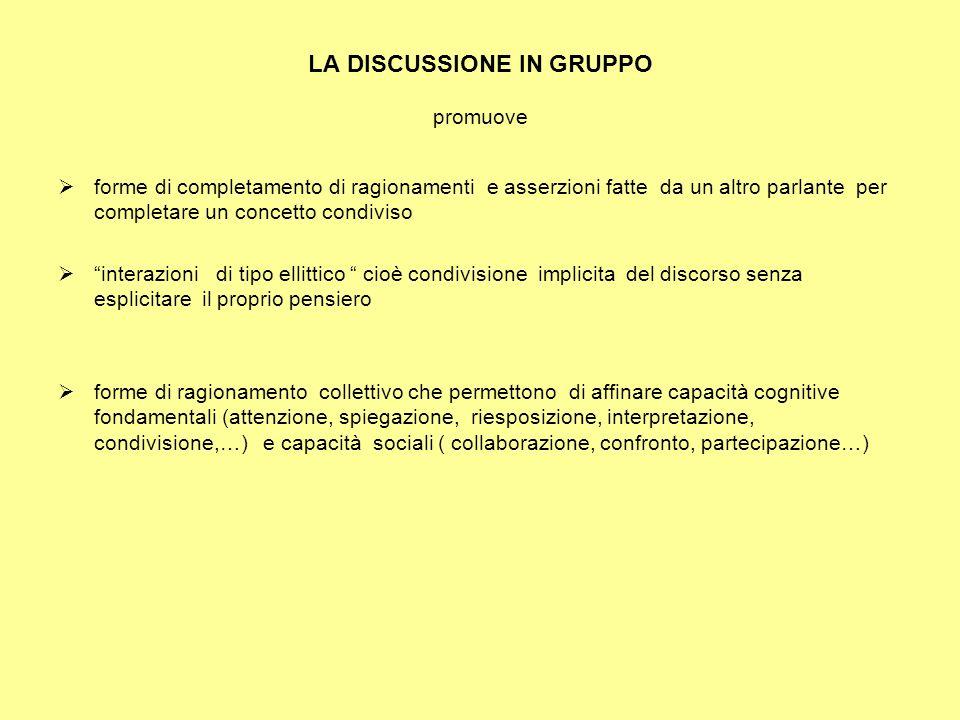 LA DISCUSSIONE IN GRUPPO promuove forme di completamento di ragionamenti e asserzioni fatte da un altro parlante per completare un concetto condiviso