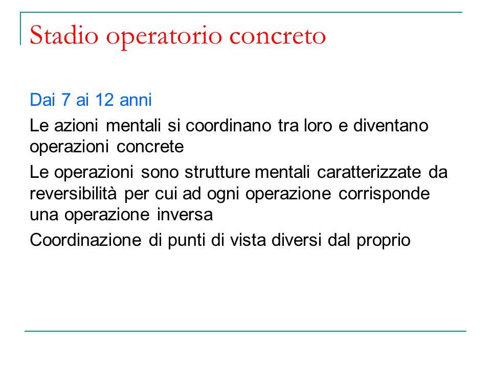 Stadio operatorio concreto Dai 7 ai 12 anni Le azioni mentali si coordinano tra loro e diventano operazioni concrete Le operazioni sono strutture ment