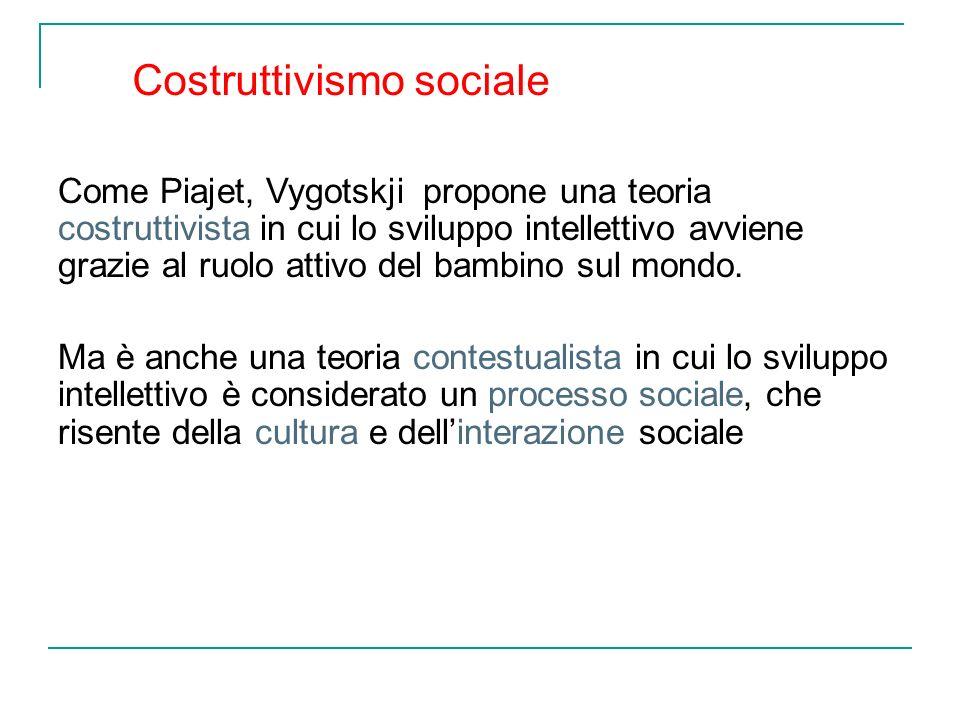 Come Piajet, Vygotskji propone una teoria costruttivista in cui lo sviluppo intellettivo avviene grazie al ruolo attivo del bambino sul mondo. Ma è an
