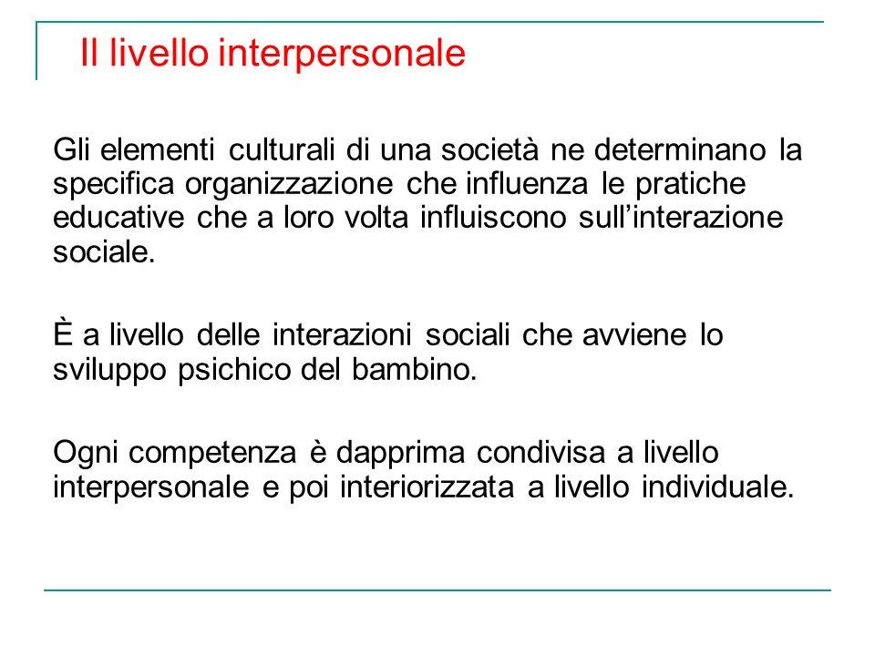 Gli elementi culturali di una società ne determinano la specifica organizzazione che influenza le pratiche educative che a loro volta influiscono sull