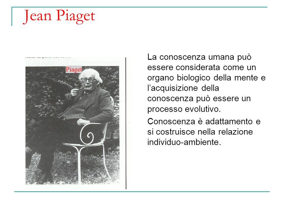 Jean Piaget La conoscenza umana può essere considerata come un organo biologico della mente e lacquisizione della conoscenza può essere un processo ev