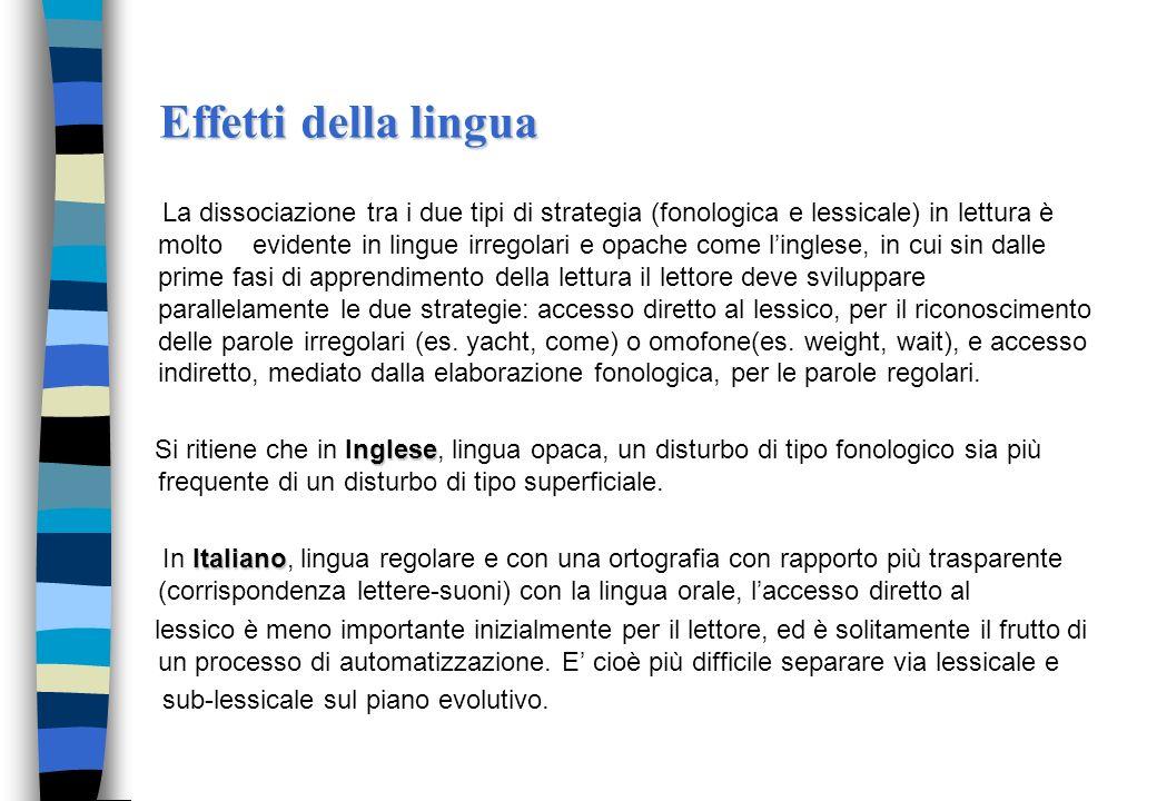 Tipi di dislessia nelladulto Applicando il modello a due vie si distinguono: dislessia fonologica: dislessia fonologica: il lettore mostra difficoltà