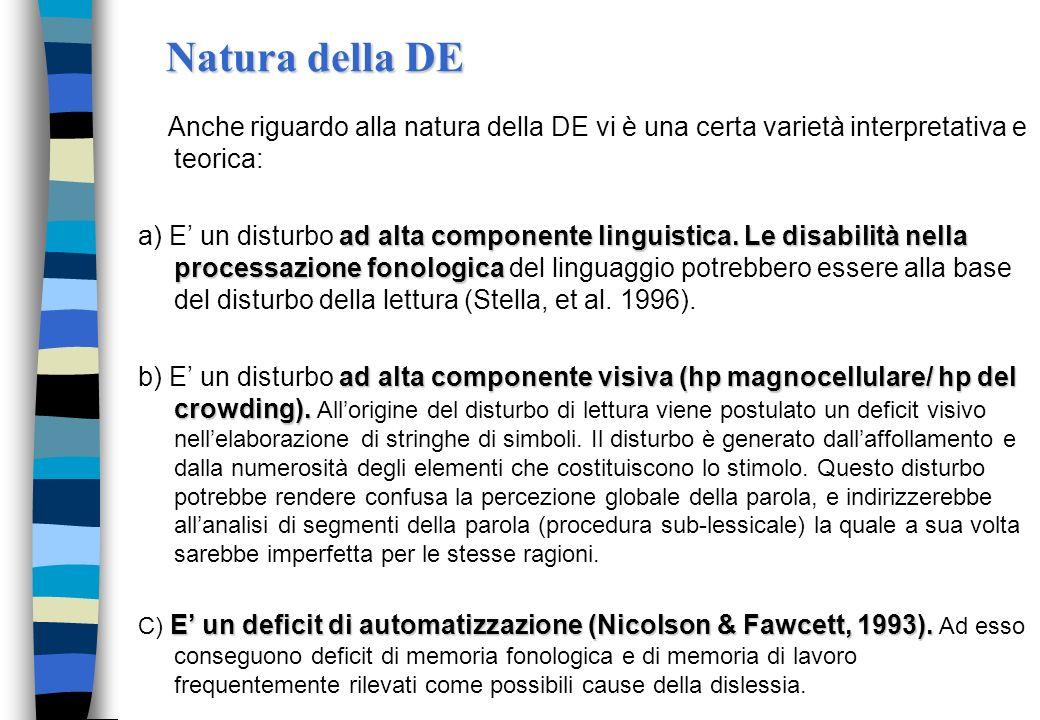 Le cause della dislessia Ipotesi visiva n Deficit visivi e di scansione oculare n Anomalie anatomiche e funzionali del sistema visivo centrale; n Diff