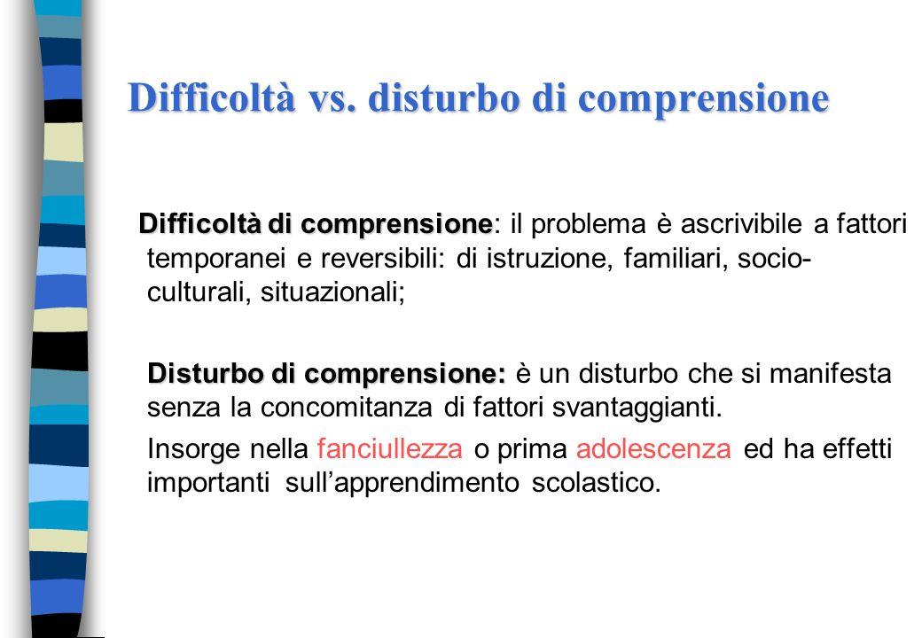 Caratteristiche del disturbo di comprensione Una prestazione al di sotto delle due deviazioni standard dalla media in prove che valutano la comprensio