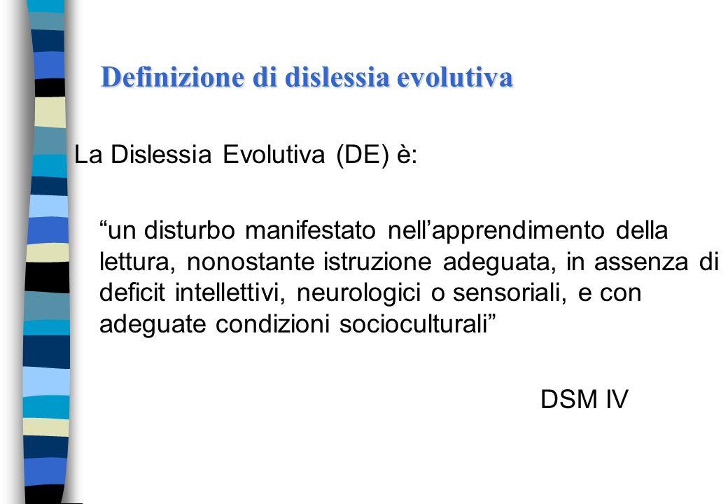 Dislessia.. Ci si riferisce alla lettura strumentale (decifrativa). Si tratta cioè di quellabilità le cui basi sono poste nei primi anni di suola elem