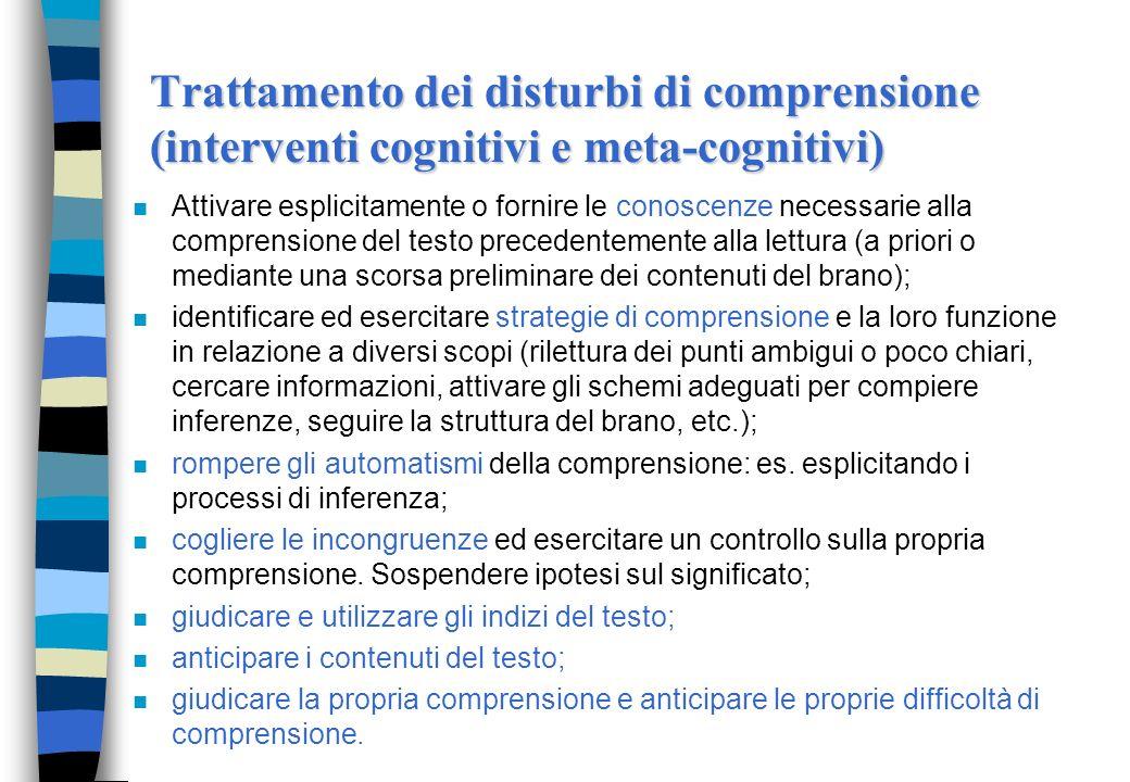 Trattamento disturbi di comprensione Interventi di tipo cognitivo: si focalizzano sullacquisizione di abilità specifiche che sottostanno al processo d