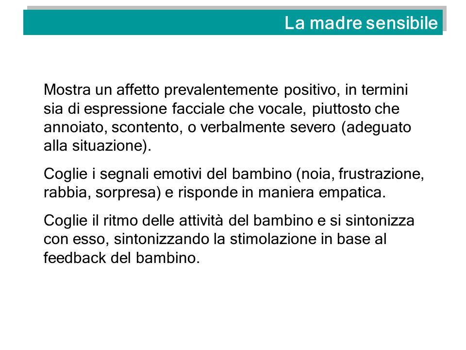La madre sensibile Mostra un affetto prevalentemente positivo, in termini sia di espressione facciale che vocale, piuttosto che annoiato, scontento, o