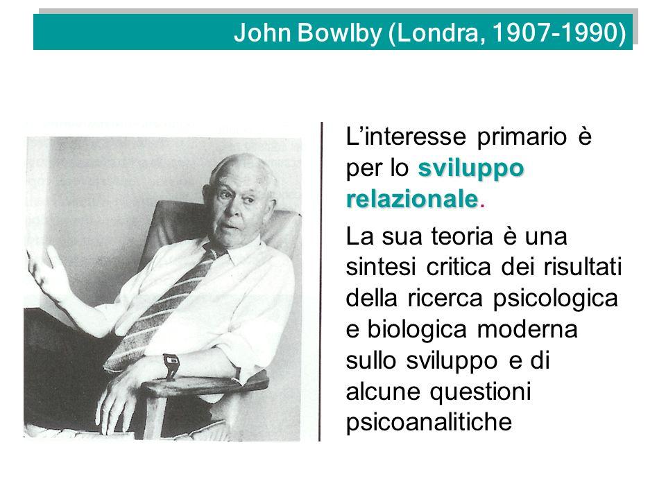 Bowlby e il suo tempo etologiateoria evoluzionistica psicoanalisi Bowlby attinge a molte delle discipline che si occupano del comportamento umano: teoria dei sistemi, teoria dellinformazione, l approccio piagetiano allo studio della psicologia cognitiva ed in particolare l etologia, e la teoria evoluzionistica.