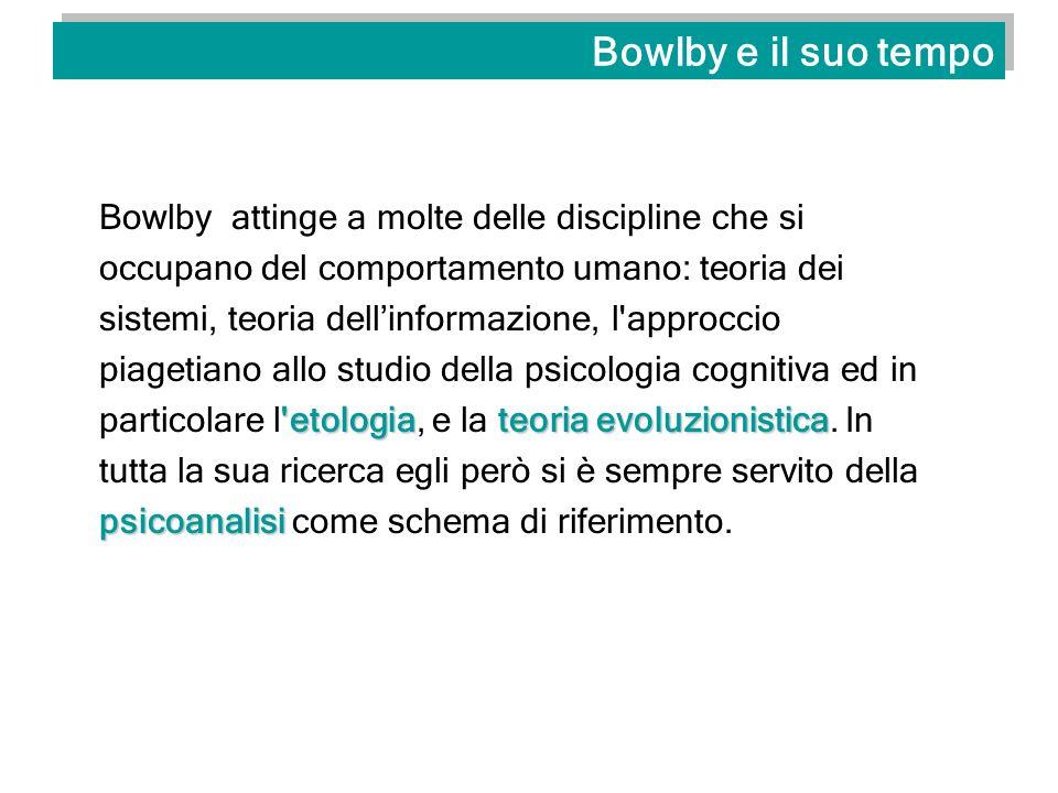 Bowlby e il suo tempo Bowlby rifacendosi al concetto etologico di imprinting e agli esperimenti di Harlow sulle scimmie rhesus, critica la posizione psicoanalitica e comportamentista del legame alla madre come interessato o come motivazione secondaria.