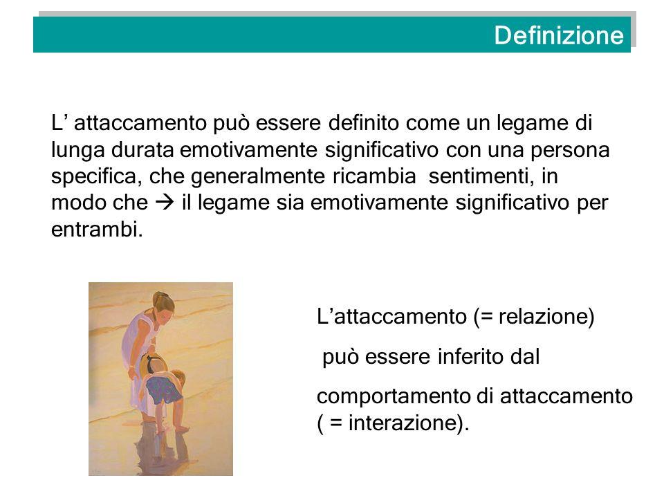 Definizione L attaccamento può essere definito come un legame di lunga durata emotivamente significativo con una persona specifica, che generalmente r