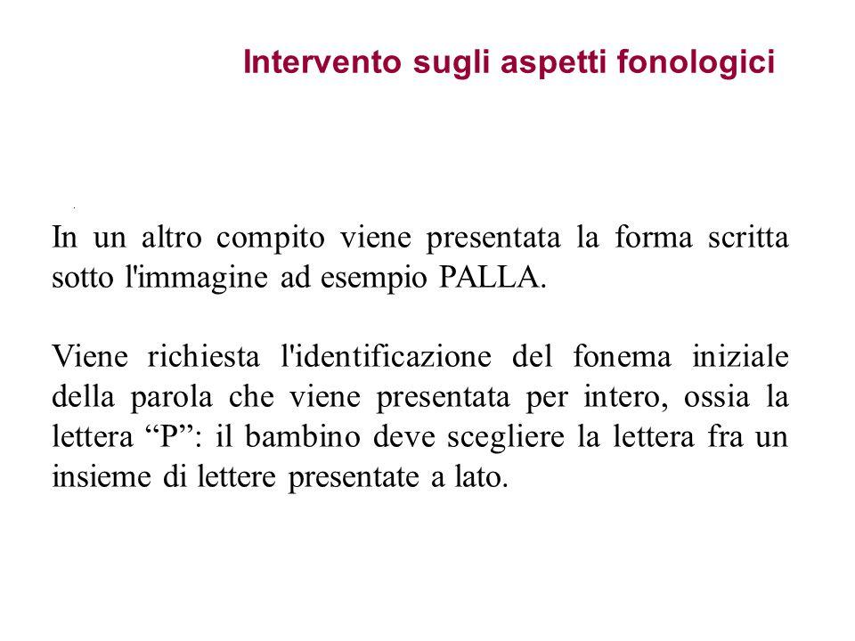 Intervento sugli aspetti fonologici. In un altro compito viene presentata la forma scritta sotto l'immagine ad esempio PALLA. Viene richiesta l'identi