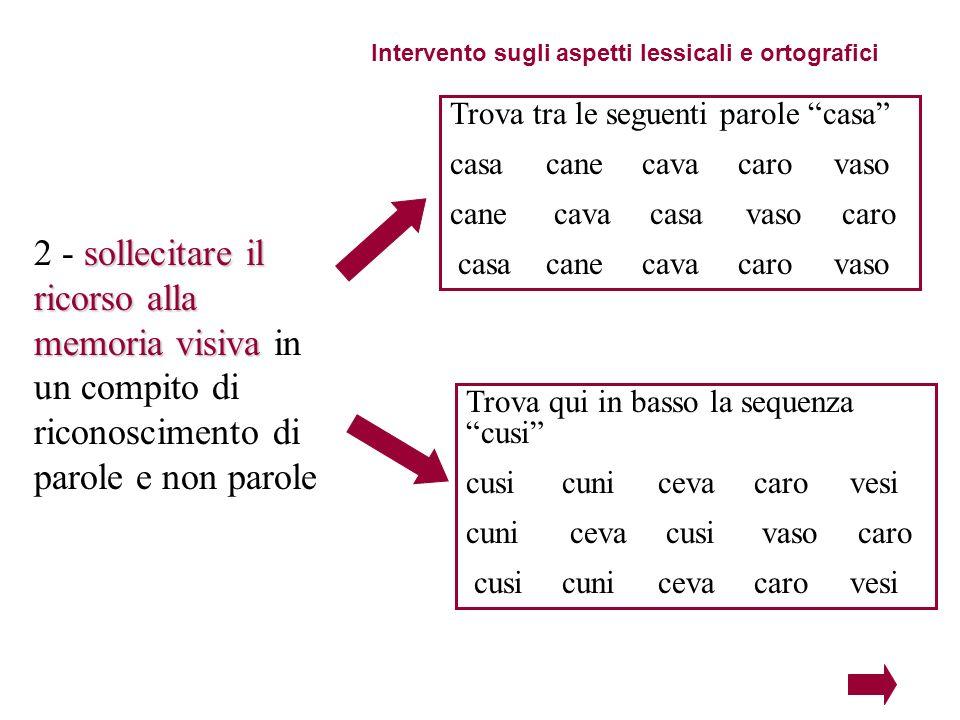 Intervento sugli aspetti lessicali e ortografici sollecitare il ricorso alla memoria visiva 2 - sollecitare il ricorso alla memoria visiva in un compi