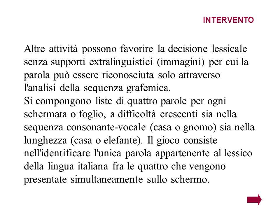 INTERVENTO Altre attività possono favorire la decisione lessicale senza supporti extralinguistici (immagini) per cui la parola può essere riconosciuta