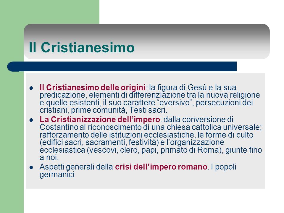 Il Cristianesimo Il Cristianesimo delle origini: la figura di Gesù e la sua predicazione, elementi di differenziazione tra la nuova religione e quelle