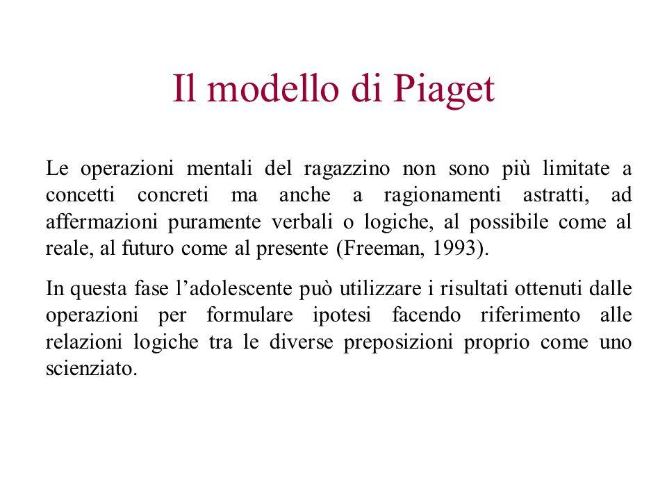 Il modello di Piaget Le operazioni mentali del ragazzino non sono più limitate a concetti concreti ma anche a ragionamenti astratti, ad affermazioni p