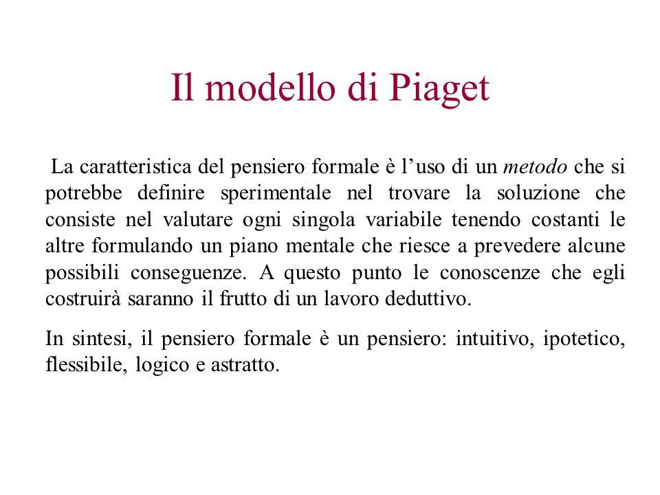 Il modello di Piaget La caratteristica del pensiero formale è luso di un metodo che si potrebbe definire sperimentale nel trovare la soluzione che con