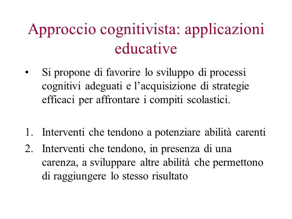 Approccio cognitivista: applicazioni educative Si propone di favorire lo sviluppo di processi cognitivi adeguati e lacquisizione di strategie efficaci