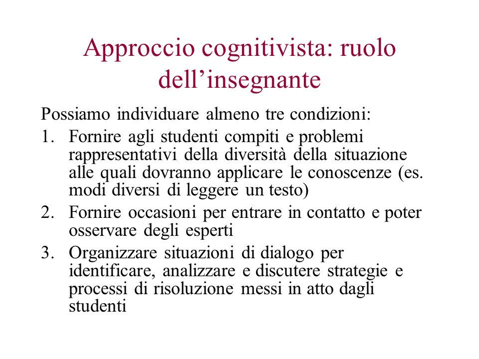 Approccio cognitivista: ruolo dellinsegnante Possiamo individuare almeno tre condizioni: 1.Fornire agli studenti compiti e problemi rappresentativi de