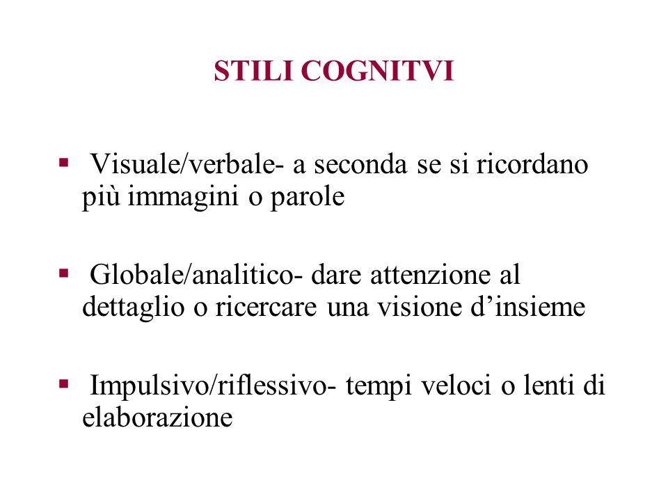 STILI COGNITVI Visuale/verbale- a seconda se si ricordano più immagini o parole Globale/analitico- dare attenzione al dettaglio o ricercare una vision