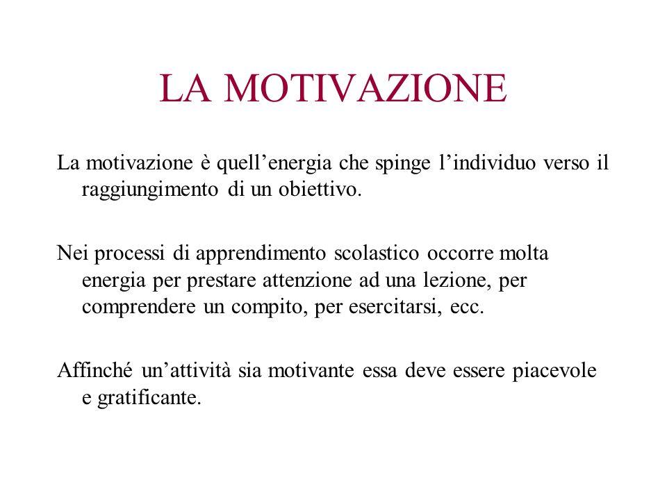 LA MOTIVAZIONE La motivazione è quellenergia che spinge lindividuo verso il raggiungimento di un obiettivo. Nei processi di apprendimento scolastico o