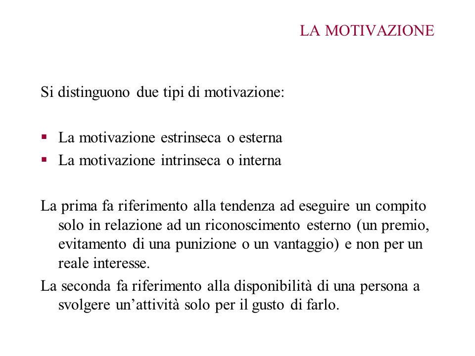 LA MOTIVAZIONE Si distinguono due tipi di motivazione: La motivazione estrinseca o esterna La motivazione intrinseca o interna La prima fa riferimento