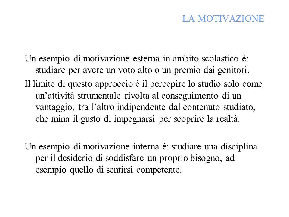 LA MOTIVAZIONE Un esempio di motivazione esterna in ambito scolastico è: studiare per avere un voto alto o un premio dai genitori. Il limite di questo
