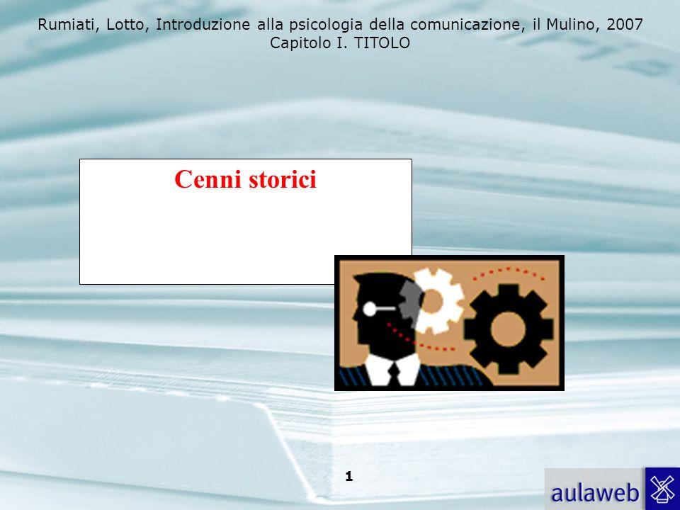 Rumiati, Lotto, Introduzione alla psicologia della comunicazione, il Mulino, 2007 Capitolo I. TITOLO 1 Cenni storici