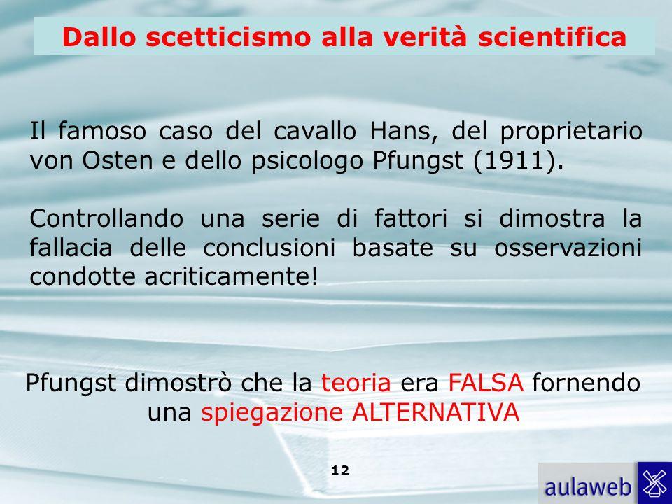 Rumiati, Lotto, Introduzione alla psicologia della comunicazione, il Mulino, 2007 Capitolo I. TITOLO 12 Dallo scetticismo alla verità scientifica Il f