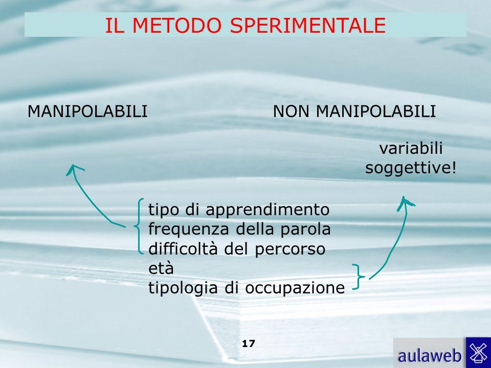 Rumiati, Lotto, Introduzione alla psicologia della comunicazione, il Mulino, 2007 Capitolo I. TITOLO 17 MANIPOLABILINON MANIPOLABILI tipo di apprendim