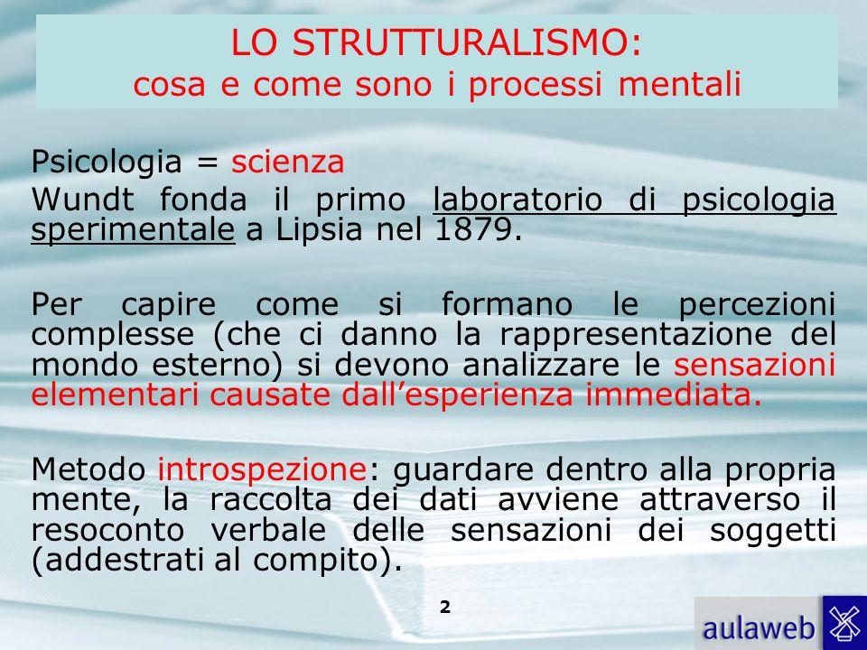 Rumiati, Lotto, Introduzione alla psicologia della comunicazione, il Mulino, 2007 Capitolo I. TITOLO 2 LO STRUTTURALISMO: cosa e come sono i processi