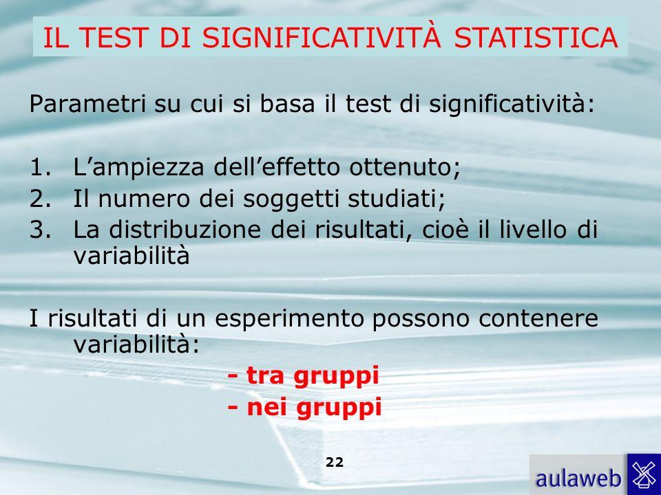 Rumiati, Lotto, Introduzione alla psicologia della comunicazione, il Mulino, 2007 Capitolo I. TITOLO 22 Parametri su cui si basa il test di significat