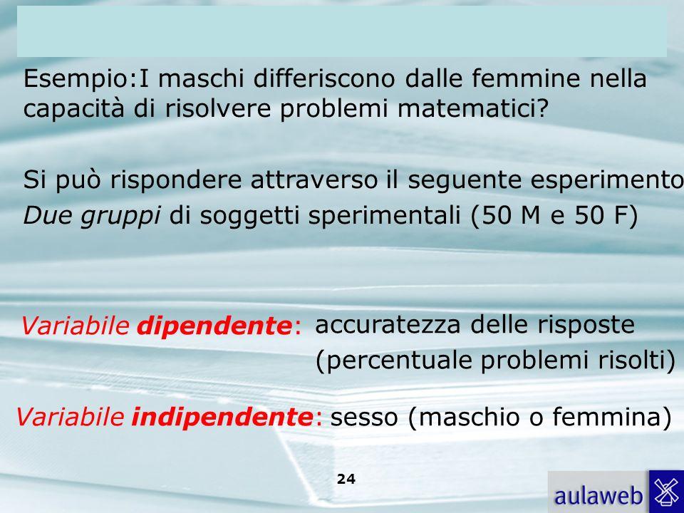 Rumiati, Lotto, Introduzione alla psicologia della comunicazione, il Mulino, 2007 Capitolo I. TITOLO 24 Esempio:I maschi differiscono dalle femmine ne