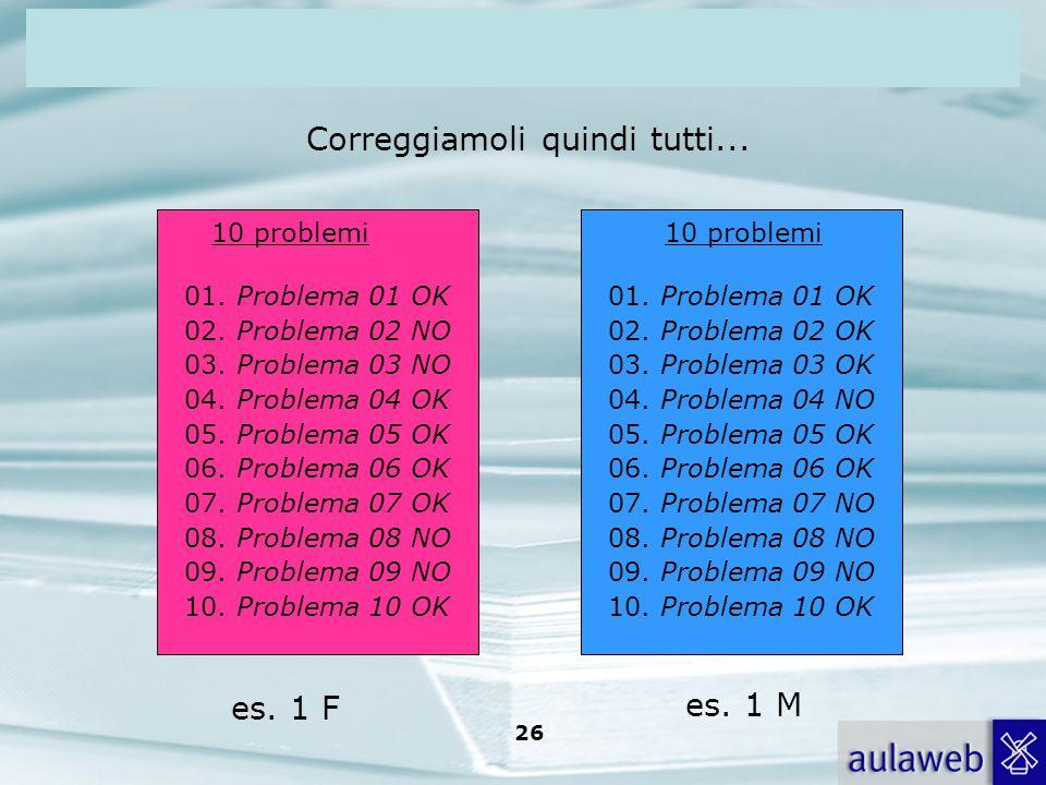 Rumiati, Lotto, Introduzione alla psicologia della comunicazione, il Mulino, 2007 Capitolo I. TITOLO 26 10 problemi 01. Problema 01 OK 02. Problema 02
