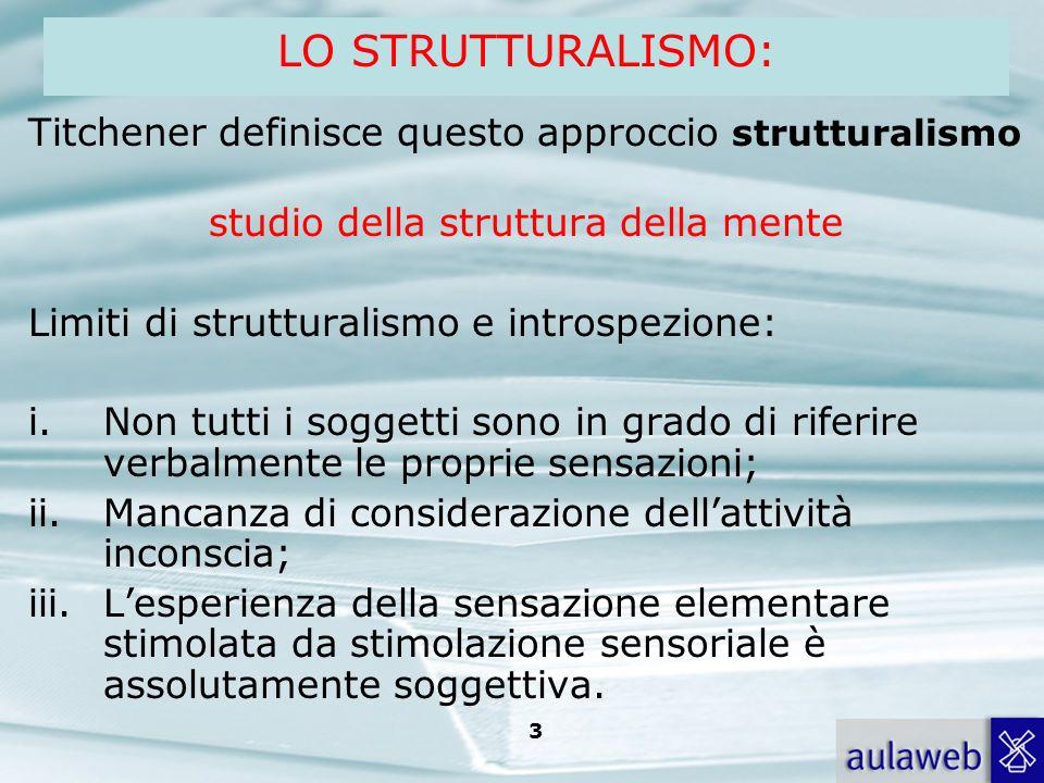 Rumiati, Lotto, Introduzione alla psicologia della comunicazione, il Mulino, 2007 Capitolo I. TITOLO 3 Titchener definisce questo approccio struttural