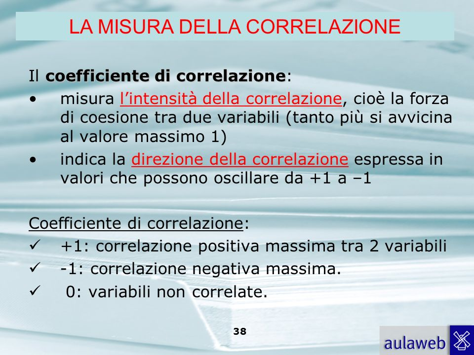 Rumiati, Lotto, Introduzione alla psicologia della comunicazione, il Mulino, 2007 Capitolo I. TITOLO 38 coefficiente di correlazione Il coefficiente d