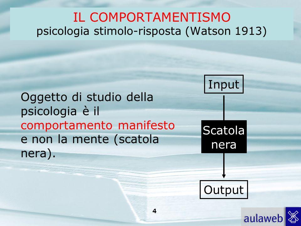 Rumiati, Lotto, Introduzione alla psicologia della comunicazione, il Mulino, 2007 Capitolo I. TITOLO 4 IL COMPORTAMENTISMO psicologia stimolo-risposta