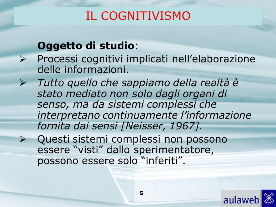 Rumiati, Lotto, Introduzione alla psicologia della comunicazione, il Mulino, 2007 Capitolo I. TITOLO 5 IL COGNITIVISMO Oggetto di studio: Processi cog