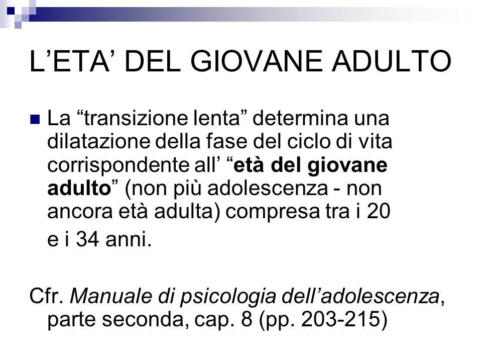 LETA DEL GIOVANE ADULTO La transizione lenta determina una dilatazione della fase del ciclo di vita corrispondente all età del giovane adulto (non più