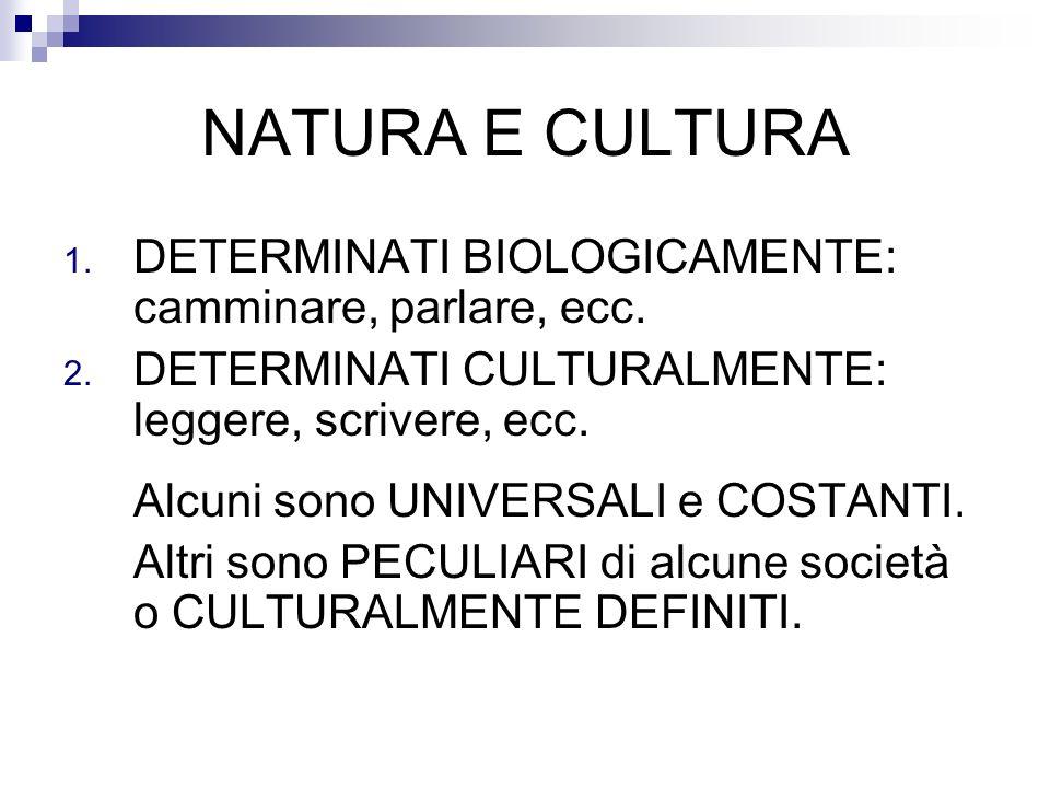 NATURA E CULTURA 1. DETERMINATI BIOLOGICAMENTE: camminare, parlare, ecc. 2. DETERMINATI CULTURALMENTE: leggere, scrivere, ecc. Alcuni sono UNIVERSALI