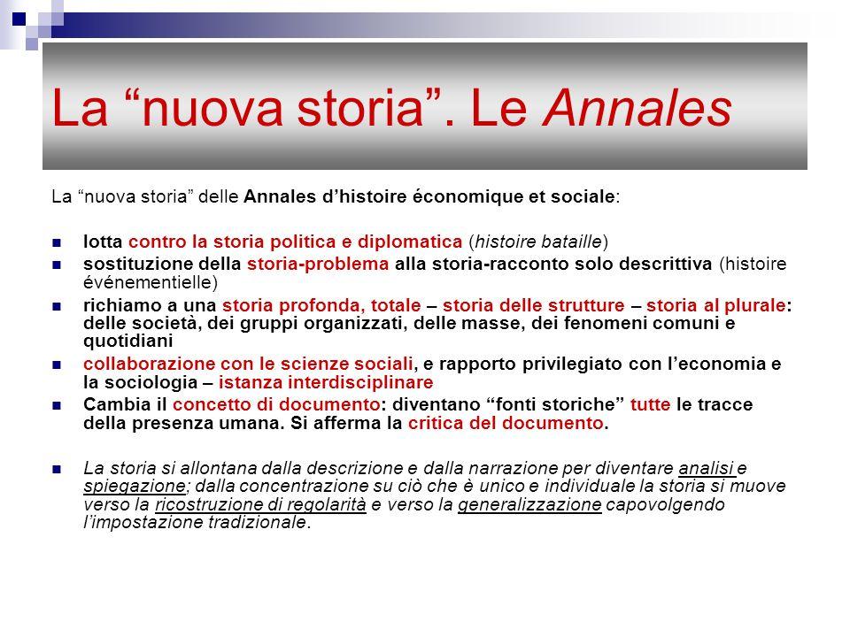 La nuova storia. Le Annales La nuova storia delle Annales dhistoire économique et sociale: lotta contro la storia politica e diplomatica (histoire bat