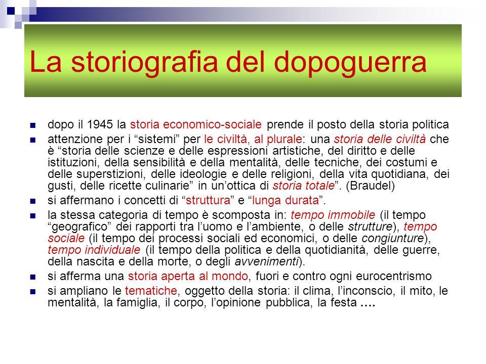 La storiografia del dopoguerra dopo il 1945 la storia economico-sociale prende il posto della storia politica attenzione per i sistemi per le civiltà,