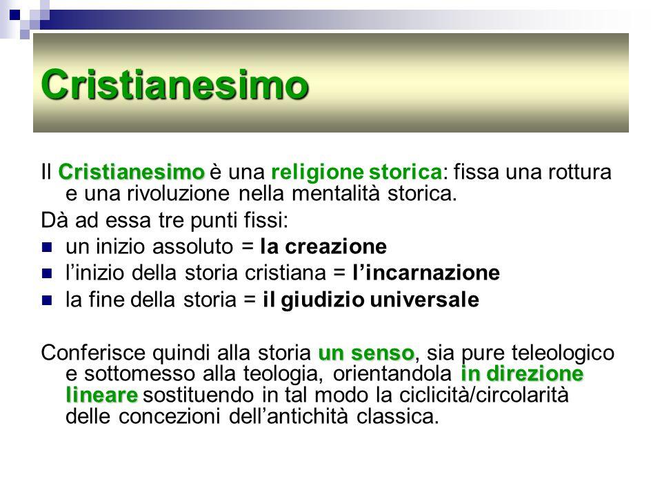 Cristianesimo Cristianesimo Il Cristianesimo è una religione storica: fissa una rottura e una rivoluzione nella mentalità storica. Dà ad essa tre punt