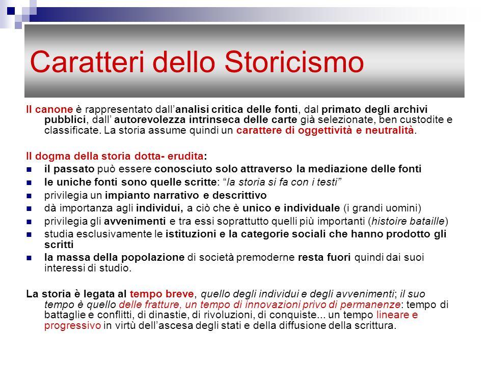Caratteri dello Storicismo Il canone è rappresentato dallanalisi critica delle fonti, dal primato degli archivi pubblici, dall autorevolezza intrinsec