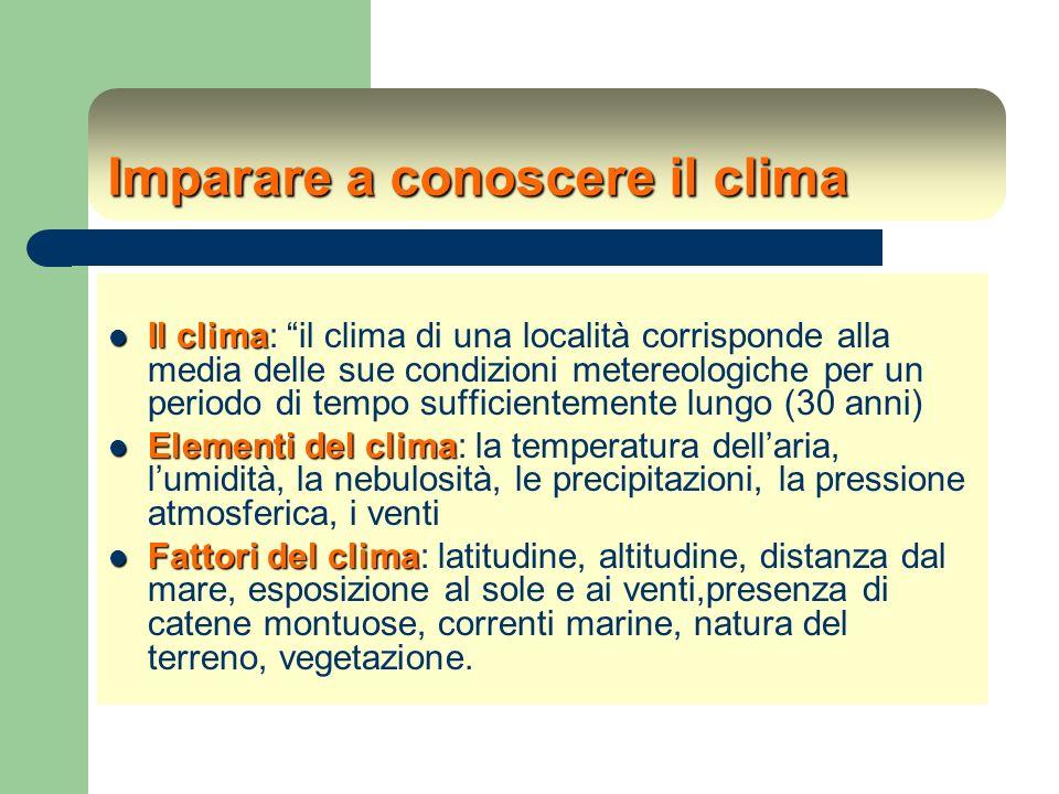 Esercitarsi con la meteorologia Strumenti: quotidiani, pubblicistica (Calendario De Agostini), Internet (www.meteo.it, www.eurometeo.com, www.wmo.ch, www.accuweather)www.meteo.itwww.eurometeo.comwww.wmo.ch www.accuweather Lavorare con gli elementi del clima: temperatura (misurazioni per un certo periodo, medie,grafici ecc.); umidità (igrometro e grafici); pressione (barometro); precipitazioni (pluviometro)… le zone climatiche: conoscenza dei climi: caldo-umido, caldo-secco, temperato-secco, temperato-umido, freddo regioni climatiche (paesaggio glaciale, tundra, foresta di conifere, foresta di latifoglie, paesaggio alantico, costiero-mediterraneo, steppe e praterie, deserti, savane, foreste equatoriali e monsoniche Esercizi di rapporto tra regioni climatiche e fattori del clima, di lettura di fotografie e di paesaggi, di letture di carte del tempo (giornali, Internet)