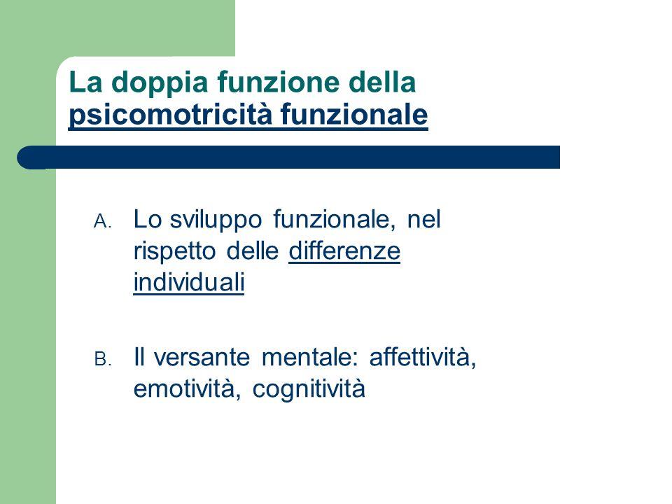 La doppia funzione della psicomotricità funzionale psicomotricità funzionale A. Lo sviluppo funzionale, nel rispetto delle differenze individualidiffe